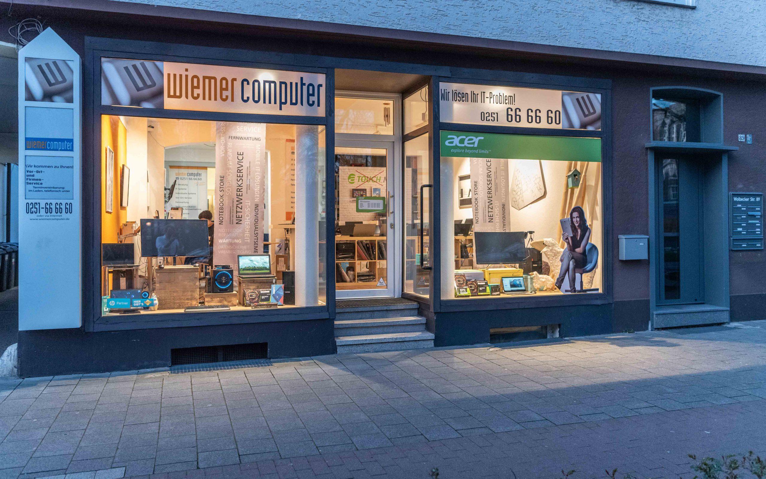 Das Ladenlokal von Wiemer Computer am Hansaplatz in Münster